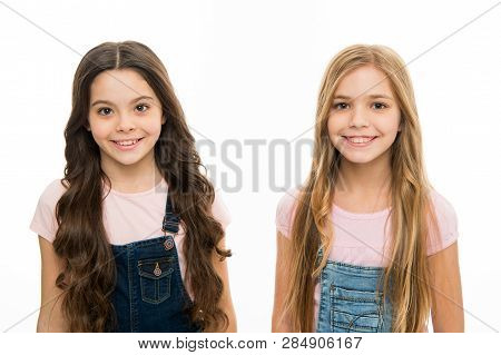 Natural Beauty. Healthy And Shiny Hair. Kid Cute Child With Long Adorable Hairstyle. Hair Care Tips