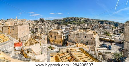 Matera, Italy - September 27 2018: Panoramic Shot Of The Steep Cliffs And Canyon Sassi Caves, The An