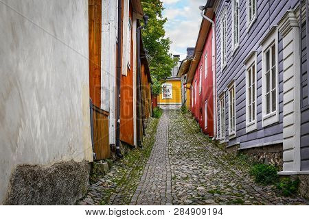 A Picturesque, Colorful Stone Alley In The Medieval Village Of Porvoo, Finland.