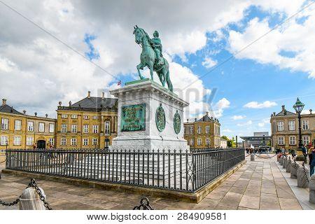 Copenhagen, Denmark - September 11 2018: Sculpture Of Frederik V On Horseback In Amalienborg Square
