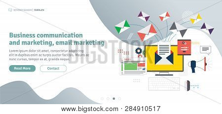 Business Communication And Email Marketing. Send Or Receive Email, Digital Marketing, Analytics And