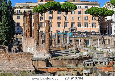 Rome, Italy - September 28 2018: The Excavated Underground Ruins At Largo Di Torre Argentina Contain
