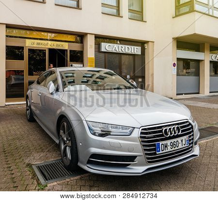 Strasbourg, France - Oct 1, 2017: Silver Luxury Audi A8 Vehicle Parked In An Upper-class Neighbourho