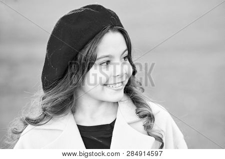 Fall Hat Fashion Accessory. French Trend Fall Season. Charming French Style Fashionable Girl. Fall F