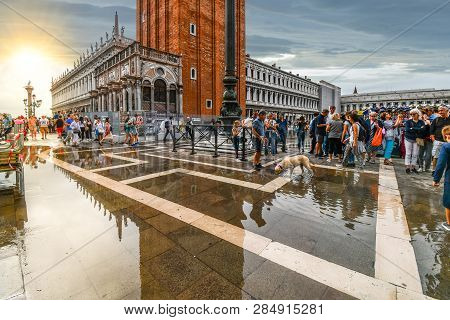Venice, Italy - September 16 2018: The San Marcos Or St Mark Square In Venice, Italy, After A High W