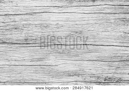 Close Up Rustic Wood Table With Grain Texture In Vintage Style. Surface Of Old Wood Plank In Macro C