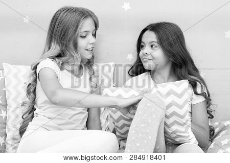 Best Friends Forever. Soulmates Girls Having Fun Bedroom Interior. Childhood Friendship Concept. Gir
