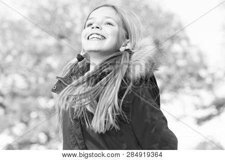 Happy Little Girl In Autumn. Little Girl Happy Smiling With Happiness. Happy And Carefree. Pure Happ