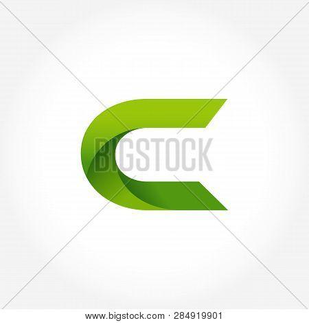 Letter C Green Logo Template. Alphabet Logotype Designs