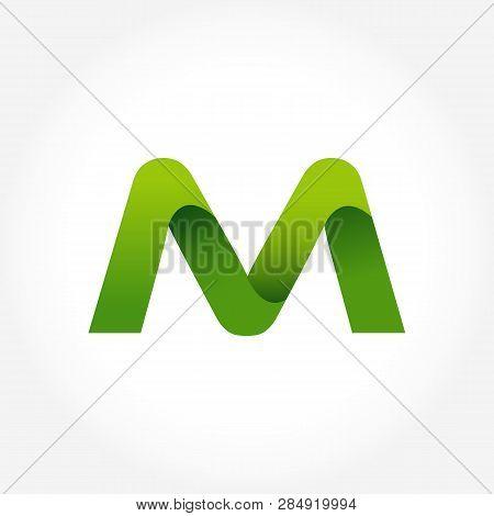 Letter M Green Logo Template. Alphabet Logotype Designs