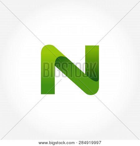 Letter N Green Logo Template. Alphabet Logotype Designs