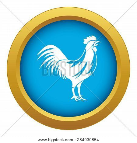 Gallic Rooster Icon Blue Vector Isolated On White Background For Any Design