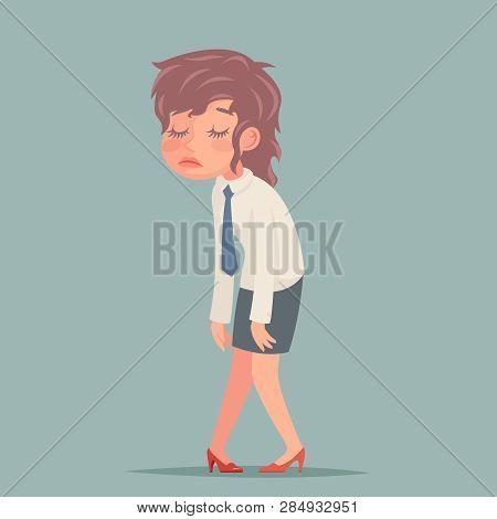 Tired Disheveled Businesswoman Sad Weary Woman Character Retro Cartoon Design Vector Illustration