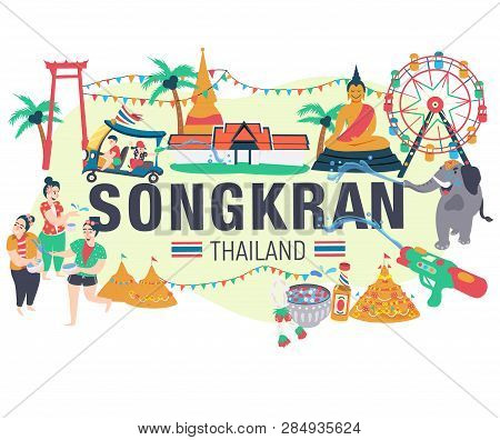 Songkran Festival Concept, People Playing Water Surrounded With Elephant ,thai Taxi, Thai Temple, Th