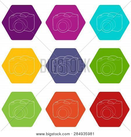 Slr Camera Icons 9 Set Coloful Isolated On White For Web