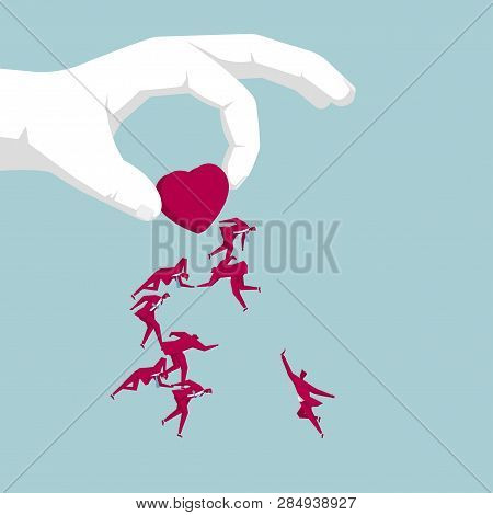 Hand Holding A Heart Symbol. Attract A Group Of Businessmen.