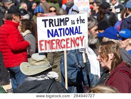 San Francisco, Ca - February 18, 2019: Unidentified Participants Protesting President Donald Trumps