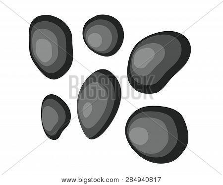 Set Black Basalt Stones For Massage, Spa Salon Accessory. Vector Illustration In Flat Style