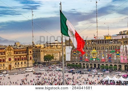 Mexico City, Mexico -  January 2, 2019 Presidential Palace Zocalo, Flag Christmas Mexico City Mexico