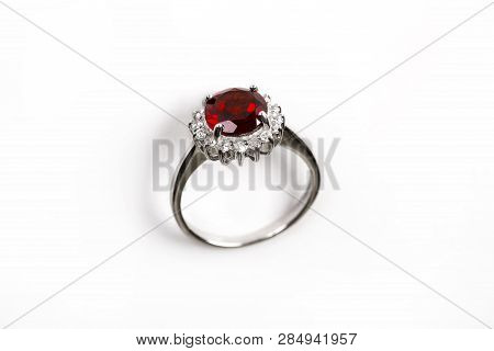 Luxury Ring With Ruby Isolated On White Background