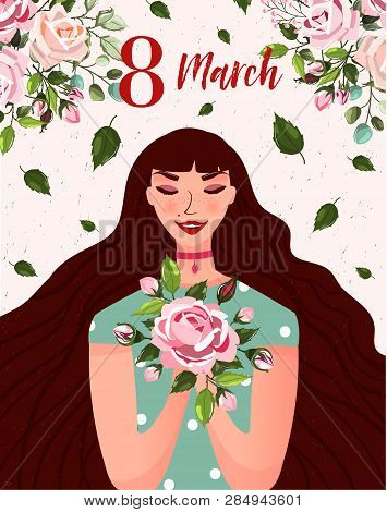 International Womens Day. Spring Holiday Happy Womens Day 8 March. Cute Greeting Card, Poster With W