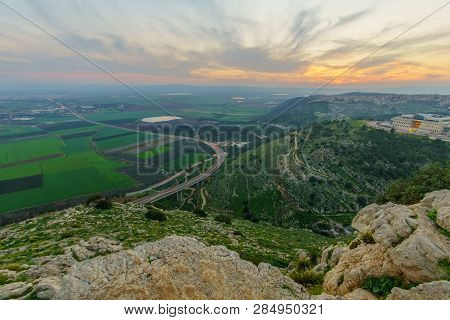 Sunset View Of The Jezreel Valley, From Mount Precipice. Israel
