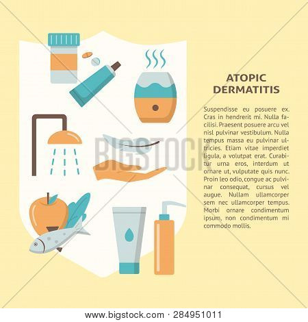 Atopic Dermatitis Treatment Concept Banner In Flat Style With Text