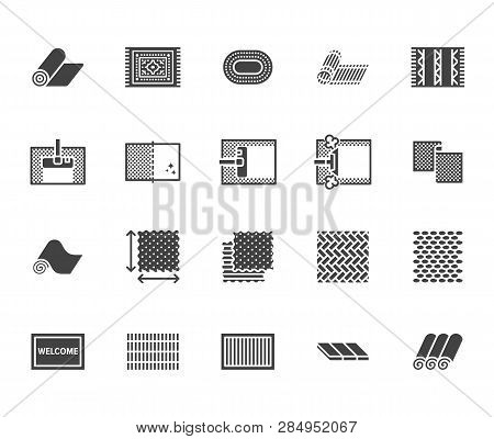 Carpet Cleaning Flat Glyph Icons Set. Rug Steaming, Bamboo Mat, Persia Carpets, Flooring Vector Illu