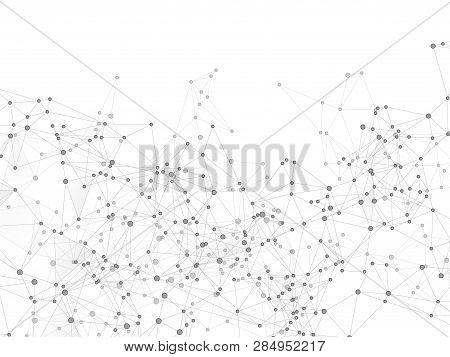 Block Chain Global Network Technology Concept. Network Nodes Greyscale Plexus Background. Wireframe