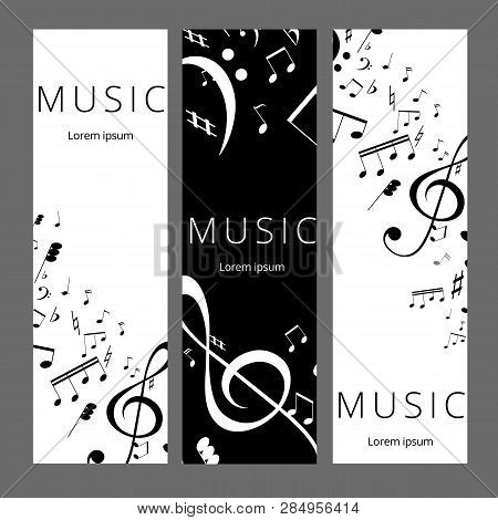 Set Of Abstract Banners With Black And White Music Key And Notes. Banner Template For Music Festive