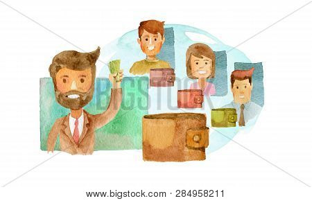 Image Of People With Wallets. Abstract Of The Disclosure . Ability To Share Money From Your Wallet I