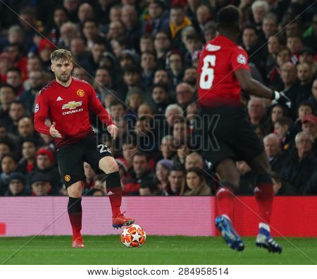 MANCHESTER, ENGLAND - FEBRUARY 12 2019: Luke Shaw of Manchester United during the Champions League match between Manchester United and Paris Saint-Germain at Old Trafford Stadium.