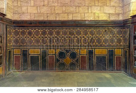 Background Of Old Grunge Wooden Wall Decorated With Colorful Painted Floral Patterns, Cairo, Egypt