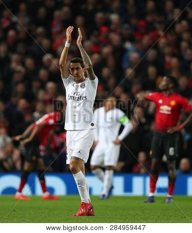 MANCHESTER, ENGLAND - FEBRUARY 12 2019: Angel Di Maria of PSG during the Champions League match between Manchester United and Paris Saint-Germain at Old Trafford Stadium.