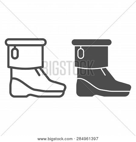 Winter Boots Line Vector \u0026 Photo (Free Trial)