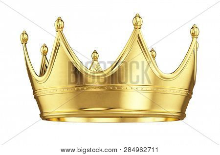 Gold crown isolated on white background - 3d rendering
