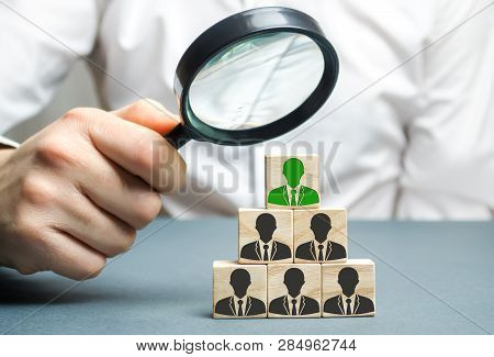 Find A Talented Employee. Businessman Searching For New Employees. Staff Recruitment. Select A Perso