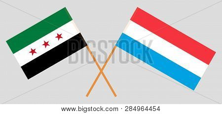 Syria Opposition And Luxembourg. The Luxembourgish And Syrian National Coalition Flags. Official Pro