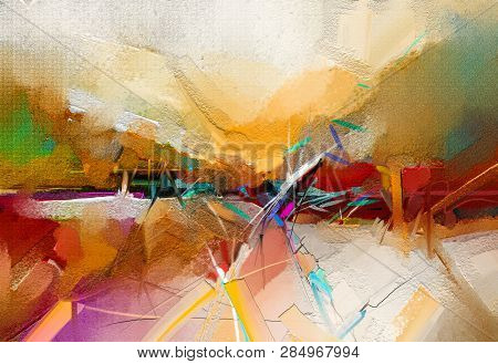 Abstract Colorful Oil, Acrylic Paint Brush Stroke On Canvas Texture. Semi Abstract Image Of Landscap