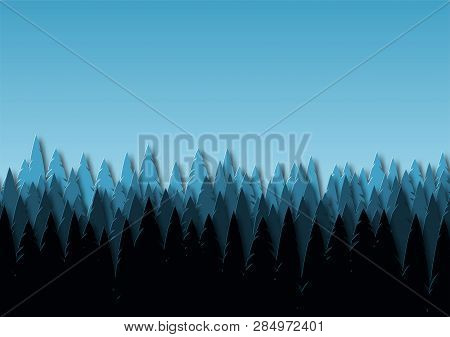 Landscape With Spruce Forest At Dusk. Snowy Trees In A Park Or Forest. Design In The Style Of Paper