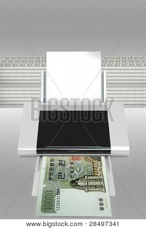 vector illustration of counterfeit dollar bills
