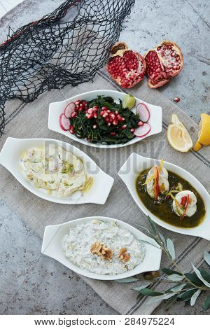 selection of turkish meze-style dishes