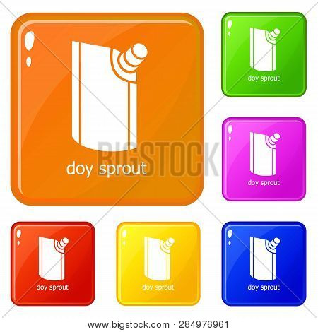 Doy Pack Icons Set Collection Vector 6 Color Isolated On White Background