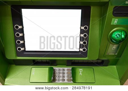 Street Atm Teller Machine With Current Operation. Blank Screen For Mockup.
