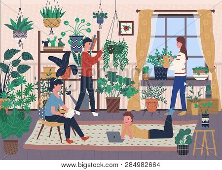 Florists And House Full Of Indoor Plants In Pots Vector. Greenery And Vegetation, Botany And Florist