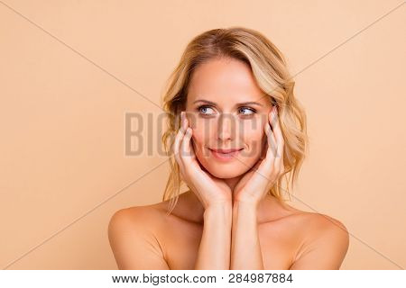 Plastic Surgery Perfection Concept. Close-up Portrait Of Attractive Charming Wavy-haired Lady With P