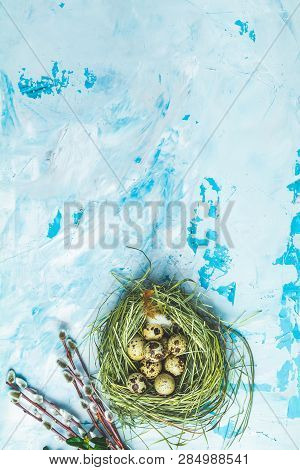 Easter Decoration With Willow Branches, Green Branches And Quail Eggs In Nest Over Blue Concrete Tab
