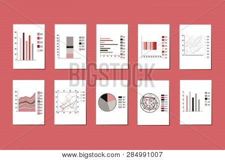 Vector Set Of Various Graphs, Charts, Pie Charts, Diagrams For Business, Infographic. Diagram Pie, C