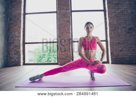 Portrait Of Nice Attractive Graceful Charming Thin Perfect Shape Form Line Bendy Flexible Lady Weari