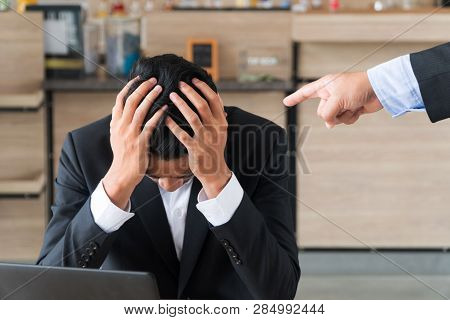 Business People The Boss, Point Fingers, Blame. Young Businessmen Holding The Head Stress Being Boss